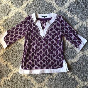 [Lafayette 148] Purple/White Sheer Tunic - Size 6